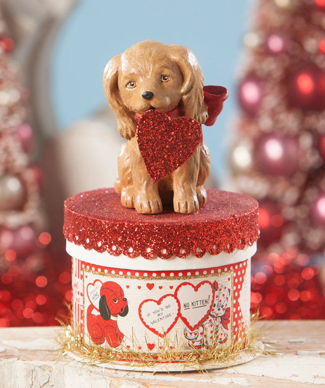 Puppy Love Box by bethany Lowe - Valentine's Day Box with Dog