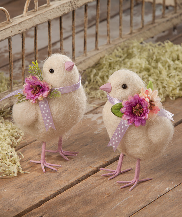 Purple Bow Chicks, Felted Wool by Bethany Lowe