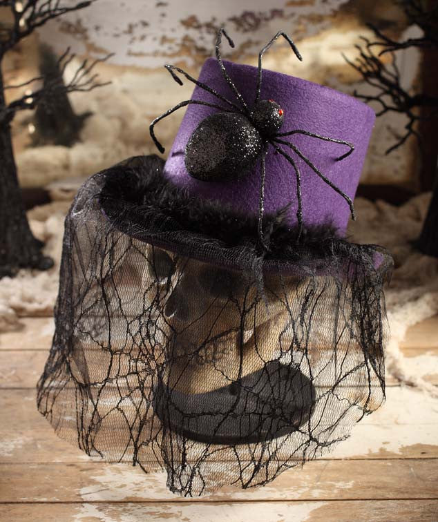 Bethany Lowe Purple Halloween Top Hat with Spider & Web Veil