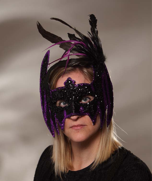 Purple Sequin & Feather Bat Mask