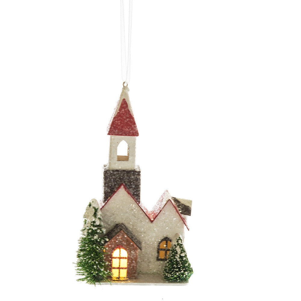 Putz Church Ornament with LED Light