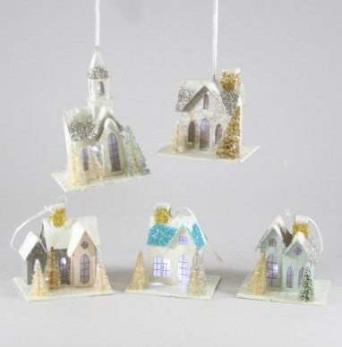 Putz Village Ornaments with LED Lights