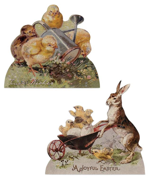 Vintage Easter Images of Rabbit and Chicks Decoupaged on Dummy Boards