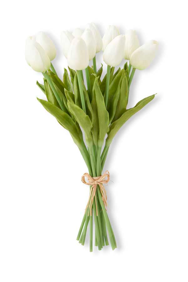 Faux White Tulip Bunch, Realistic