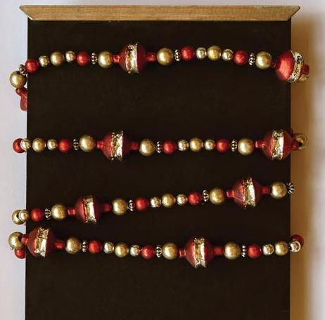 Red & Gold Glass Bead Garland