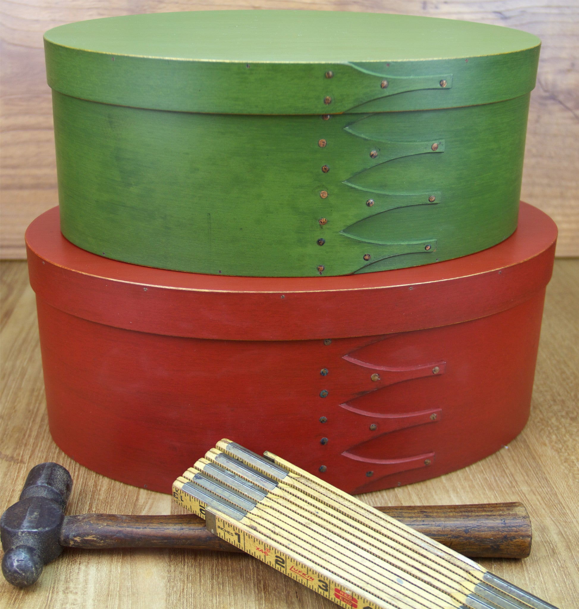 Stack of Red and Green Shaker Boxes for Christmas