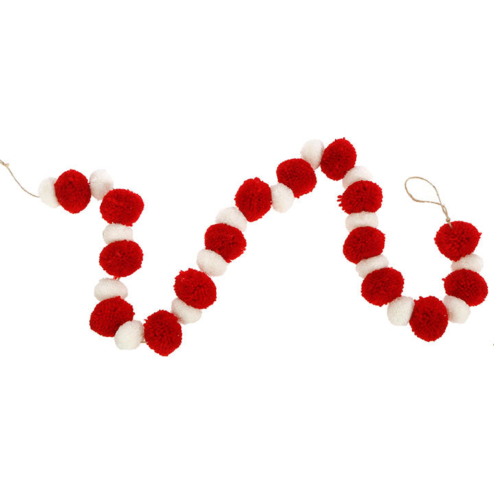 Red & White Pom Pom Garland