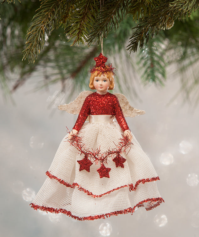 Red & White Storybook Angel Ornament - Christmas Cone Doll