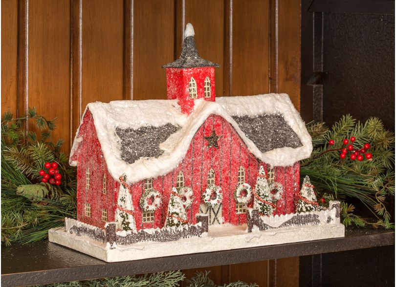 red barn christmas putz house - Barn Christmas Decorations