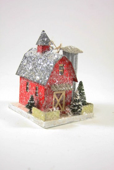 Red Barn with Silo Ornament - Christmas Putz