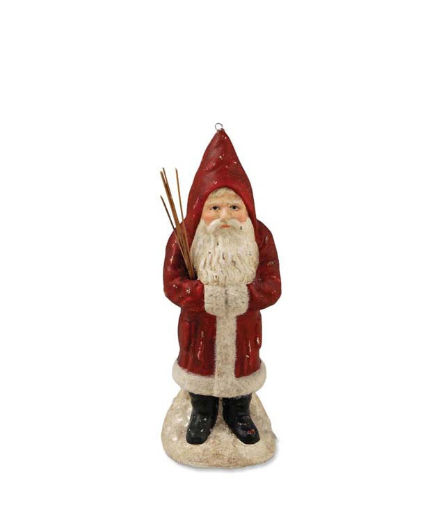 Red Belsnickel With Switches Ornament - Bethany Lowe Santa