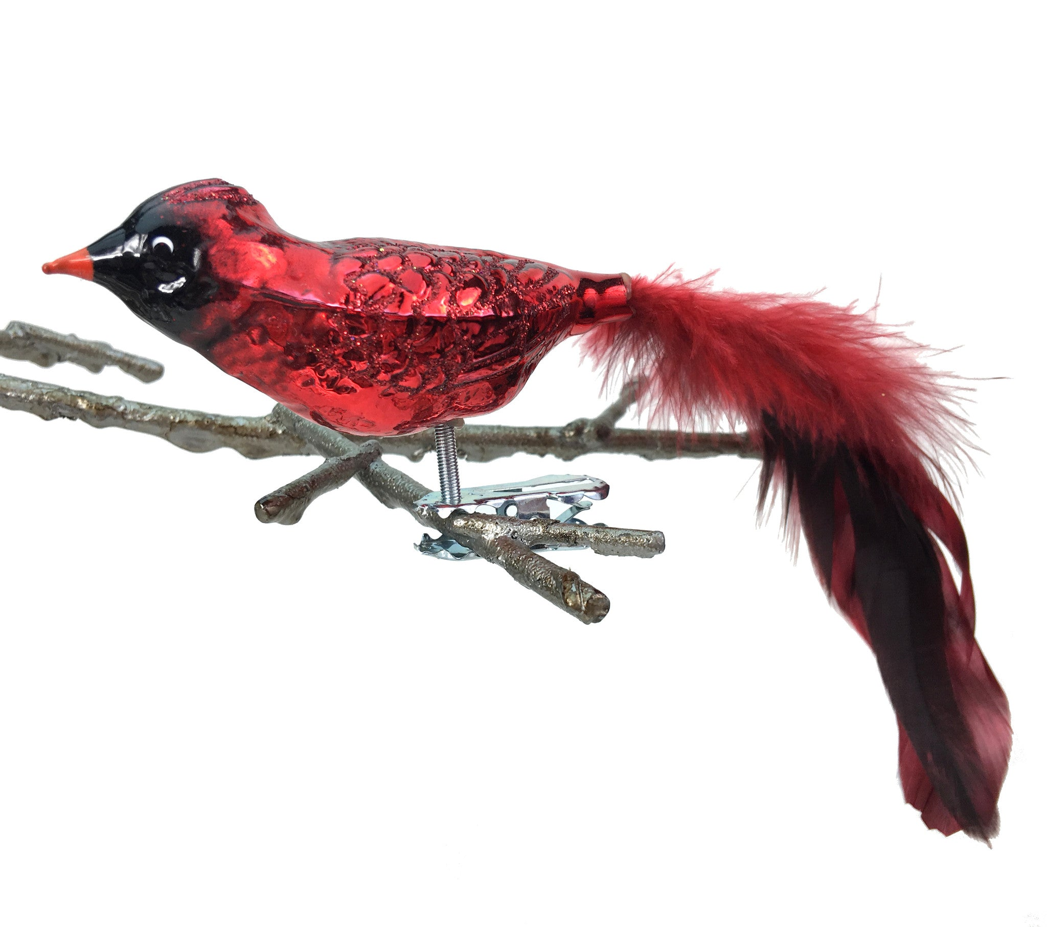 Glass Red Cardinal Clip-On Ornament with Feathers made in Germany