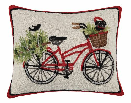 Red Christmas Bicycle with Puppy Pillow by Mary Lake Thompson