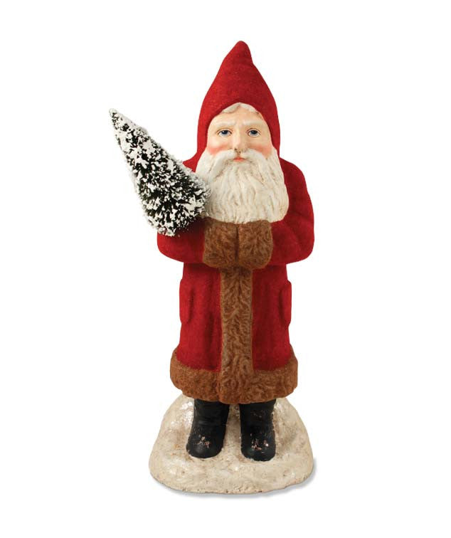 Red Flocked Belsnickel with Tree - Bethany Lowe Santa