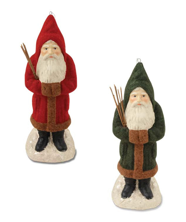 Red &Green Flocked Belsnickel Ornaments - Bethany Lowe