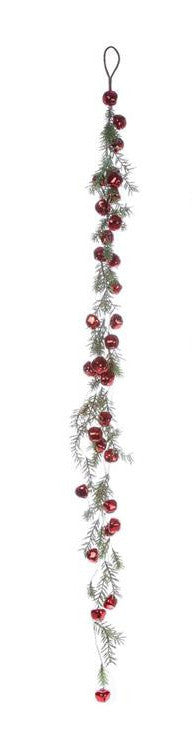 Red Jingle Bell Garland with Faux Pine