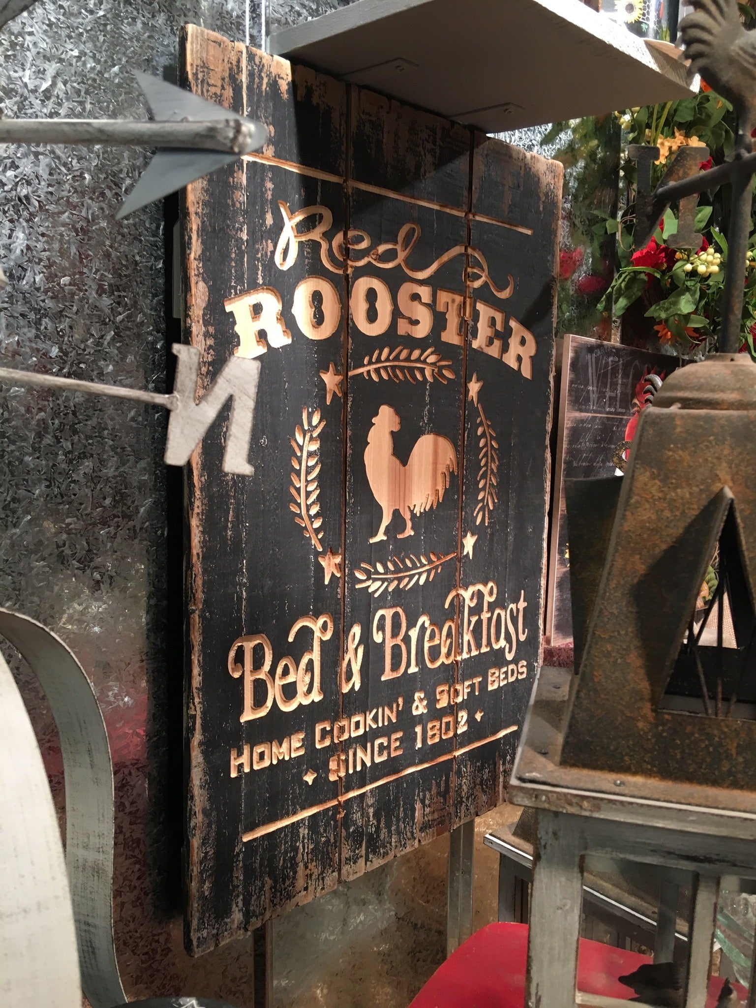 Red Rooster Bed & Breakfast Sign Made From Wood