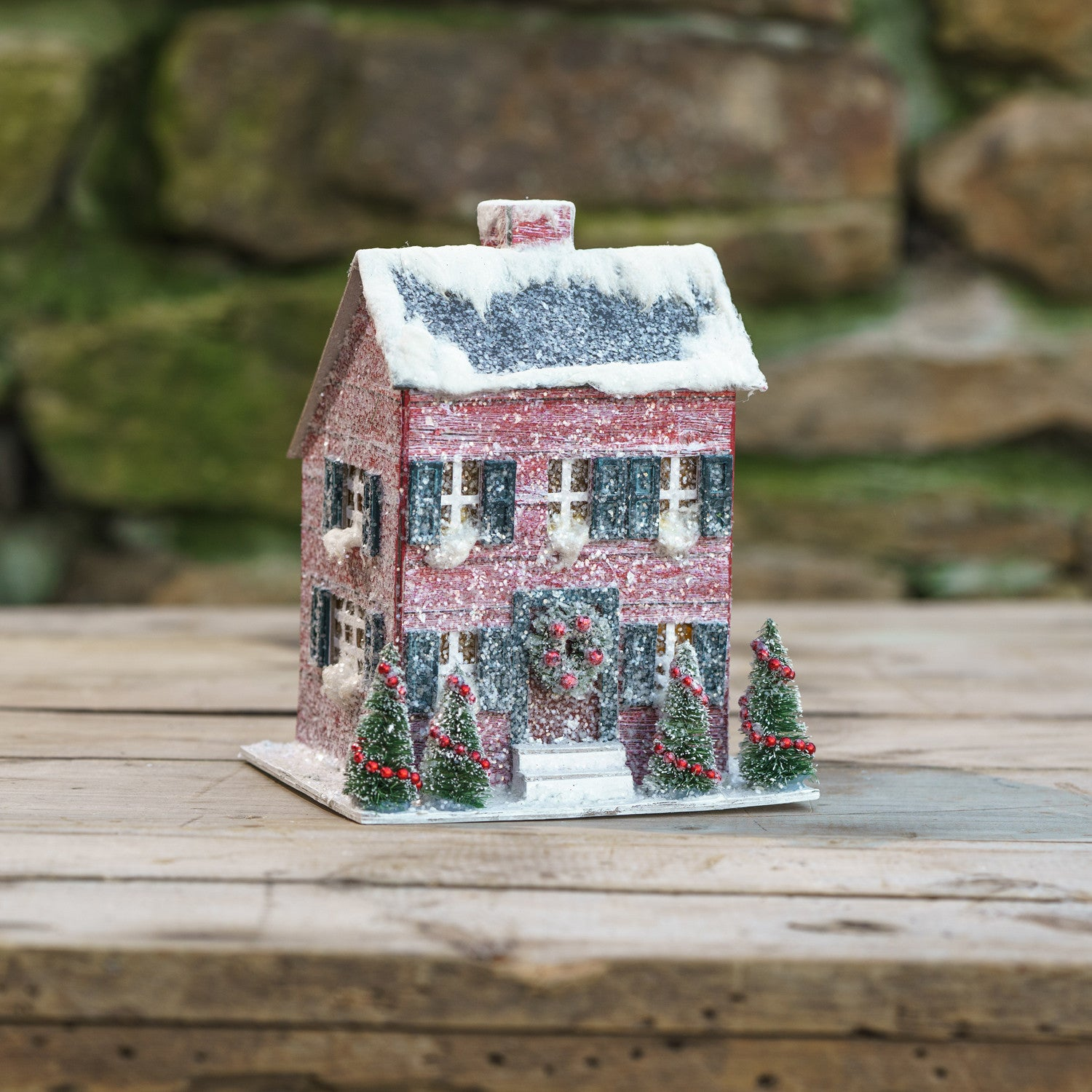 Red Saltbox Christmas House with Light
