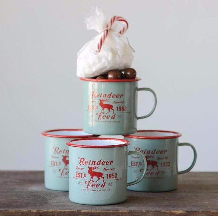 Reindeer Feed Enameled Christmas Mugs