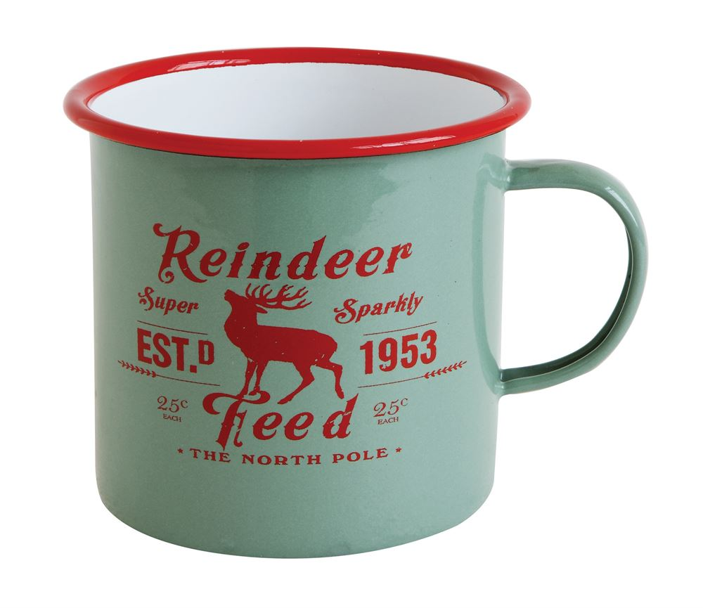 Christmas Mugs.Reindeer Feed Enameled Mugs