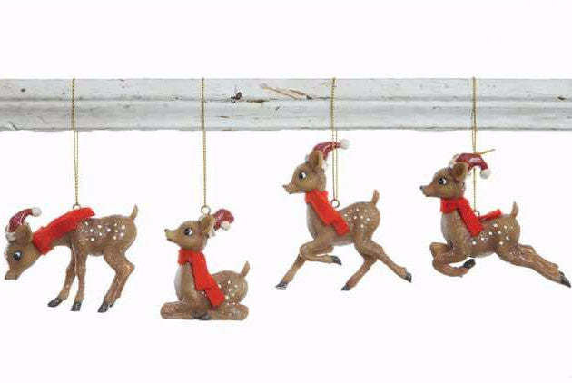 Reindeer in Santa Hat Ornaments