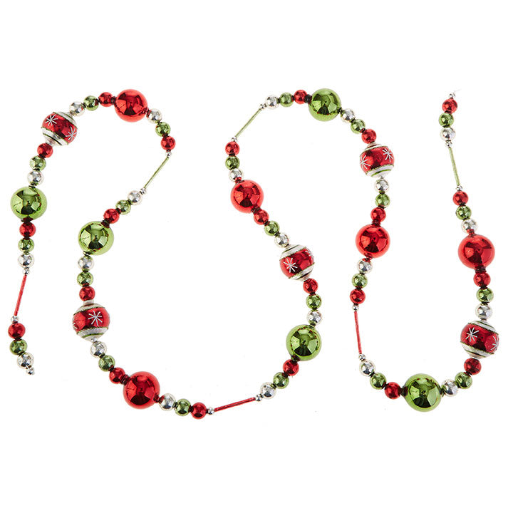 Retro Christmas Garland with Red, Green and Silver Balls and Beads