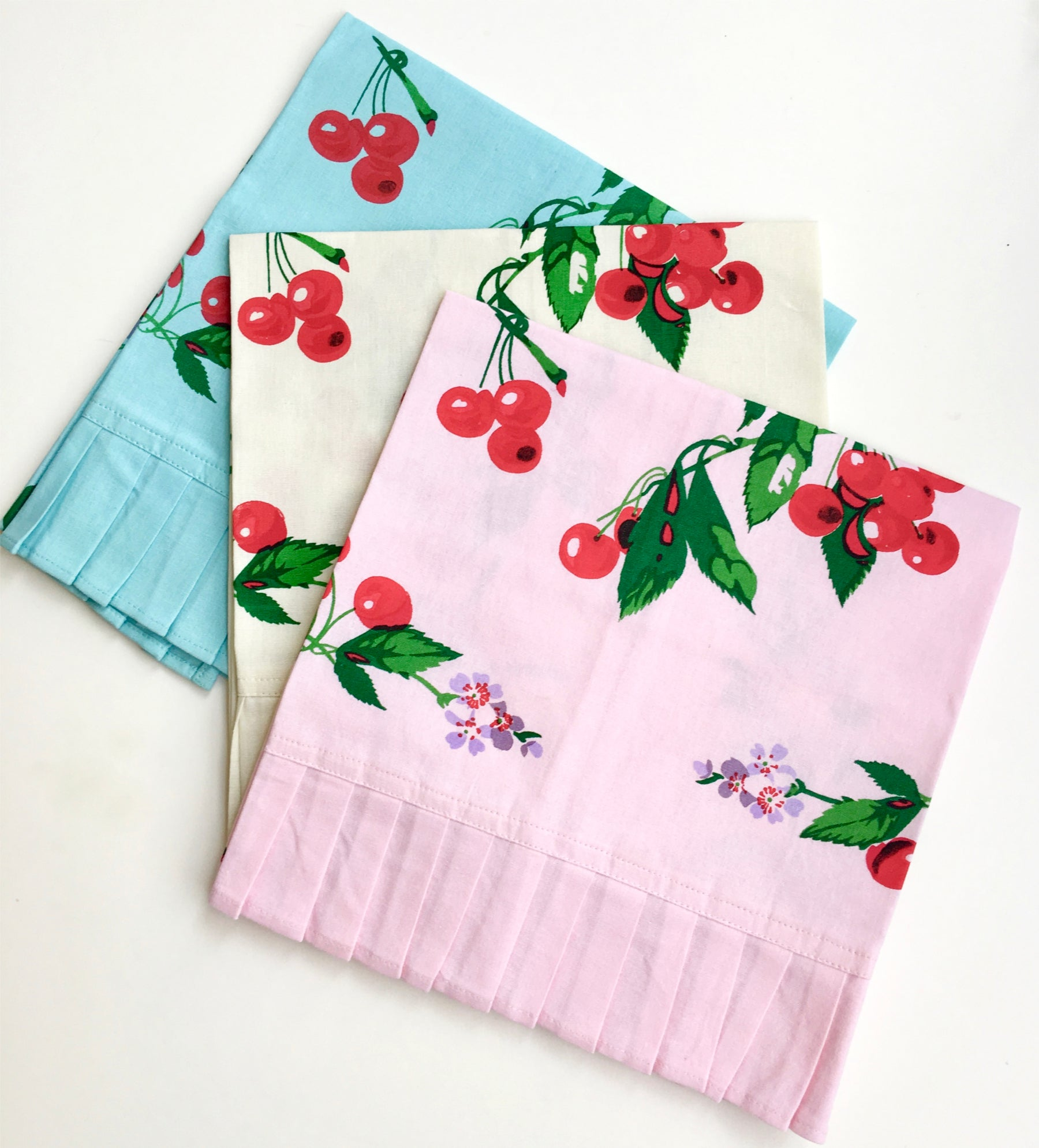 Retro Cherry Tea Towel - Teal