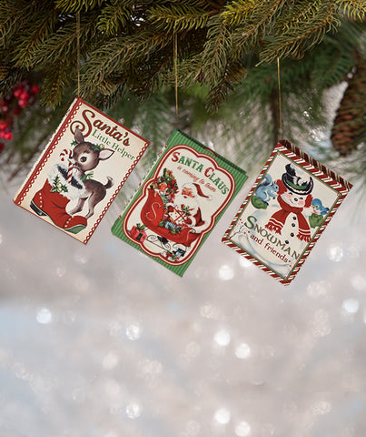 retro christmas book ornaments