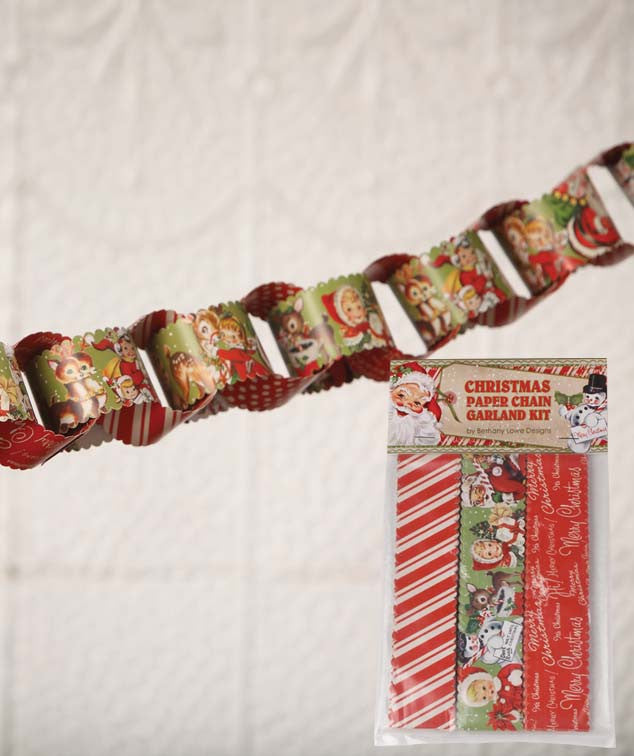 Retro Christmas Paper Chain Garland Kit
