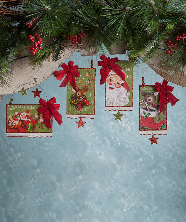 Retro Christmas Postcard Ornaments