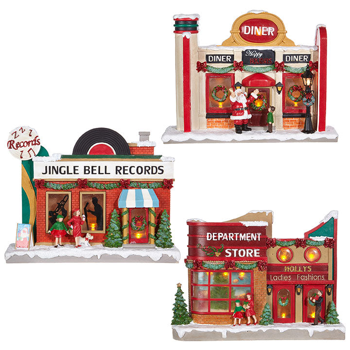 Retro Christmas Storefronts, Light Up Record Store, Diner and Department Store