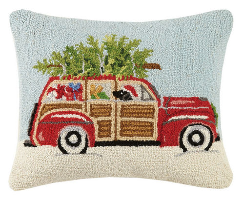 Christmas Woody Wagon with Pup Pillow