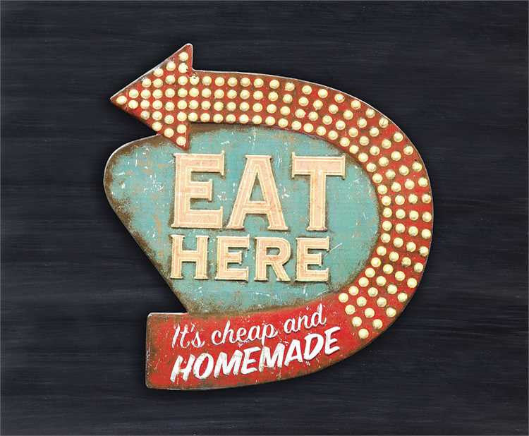 Retro Eat Here Tin Wall Sign