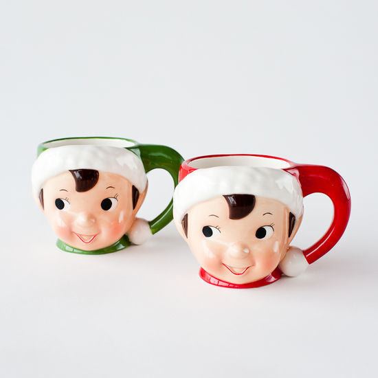 Retro Elf Mugs, Red & Green