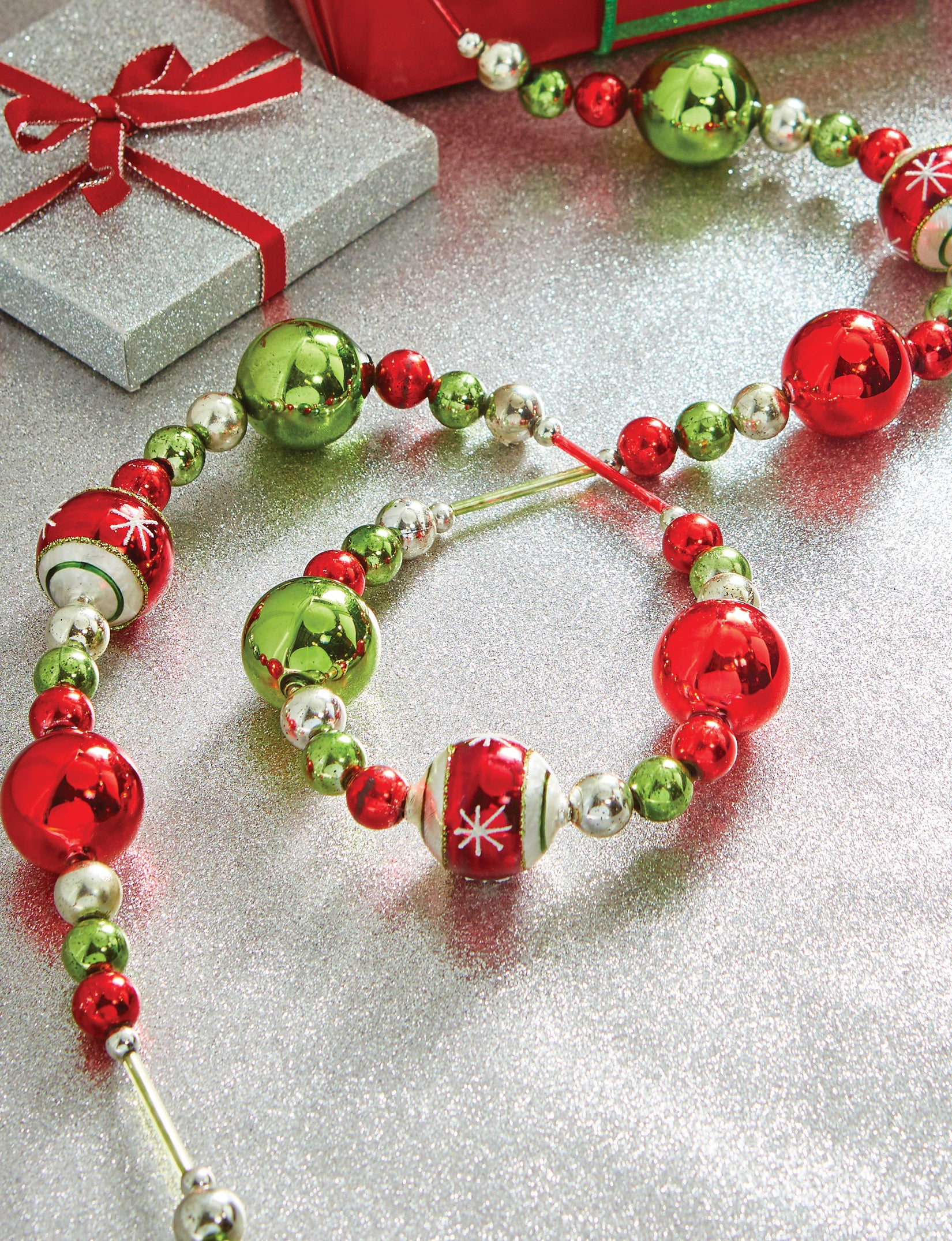 Retro Glass Ball Garland with Green, Red and Silver Beads