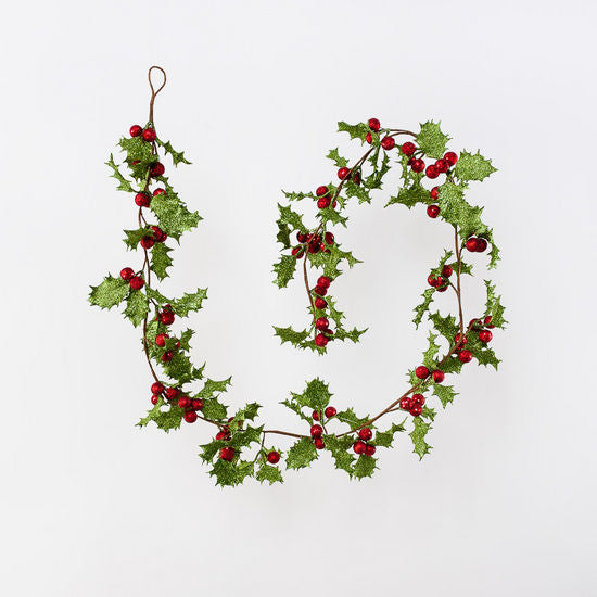 Retro Glittered Holly Garland