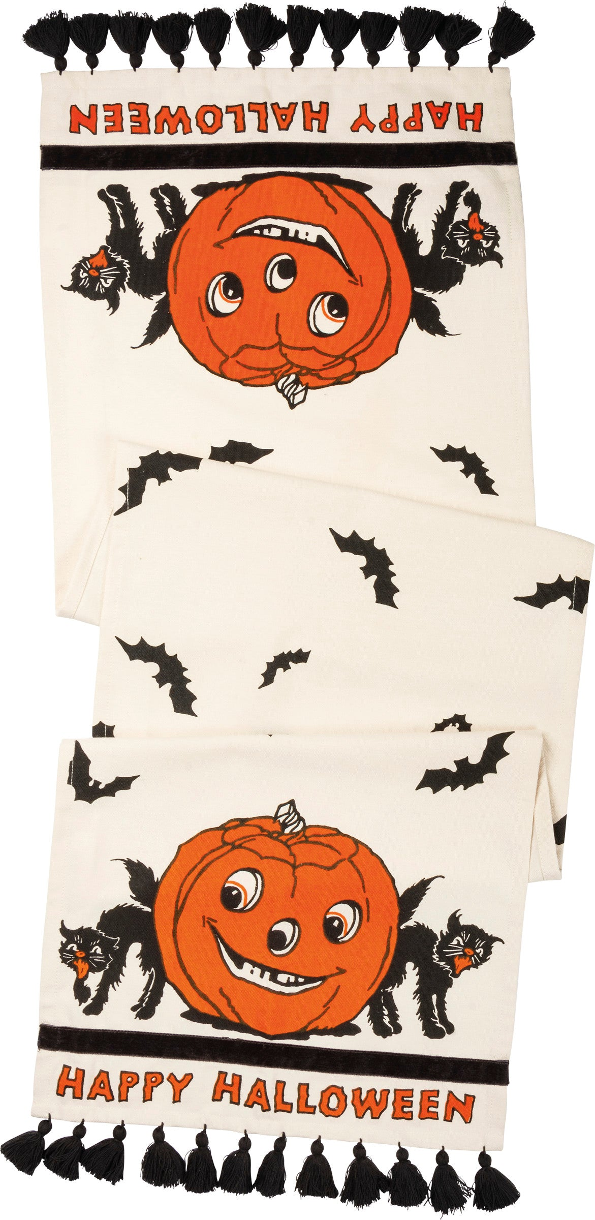 Retro Halloween Table Runner with Black Cats & Pumpkins