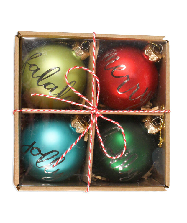 Retro Holiday Greetings Ball Ornaments