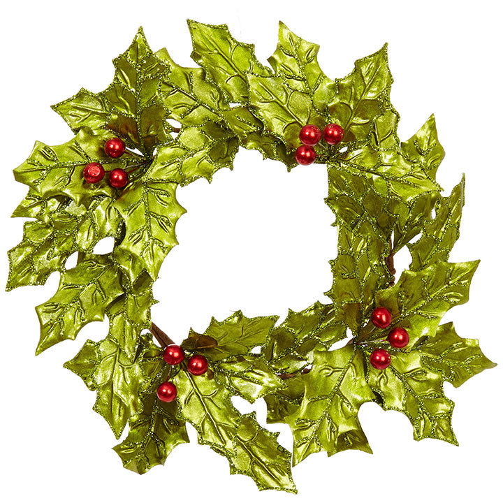 Retro Holly Wreath - Ceylon Green