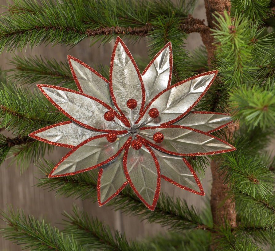 Retro Metal Poinsettia Clip Ornament
