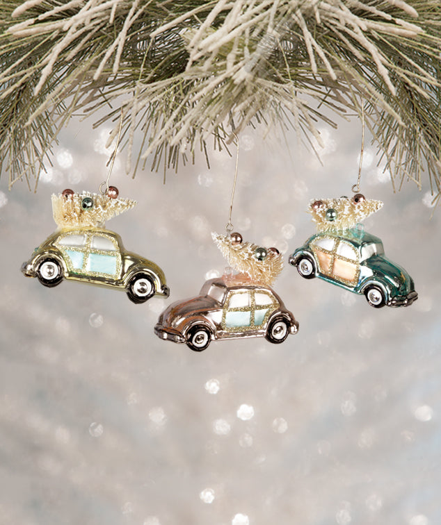 Retro Pastel Bug Ornaments with Christmas Trees