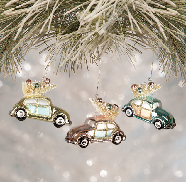 Retro Pastel Bug Ornaments with Christmas Trees - Pink Blue and Green Cars