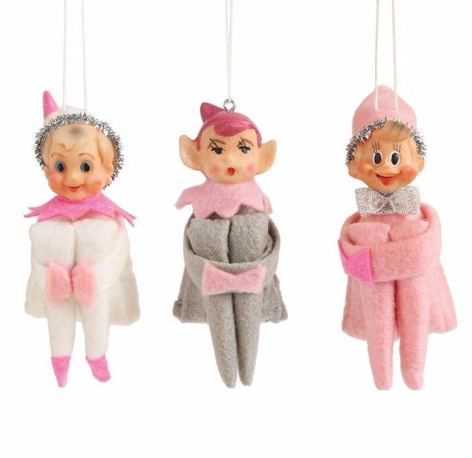 Vintage Reproduction Elf Ornaments - Pink Elves