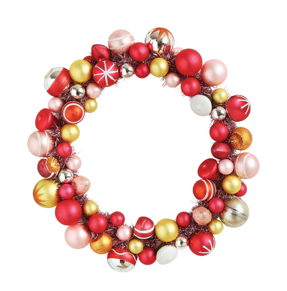 Retro Red & Pink Glass Ornament Wreath