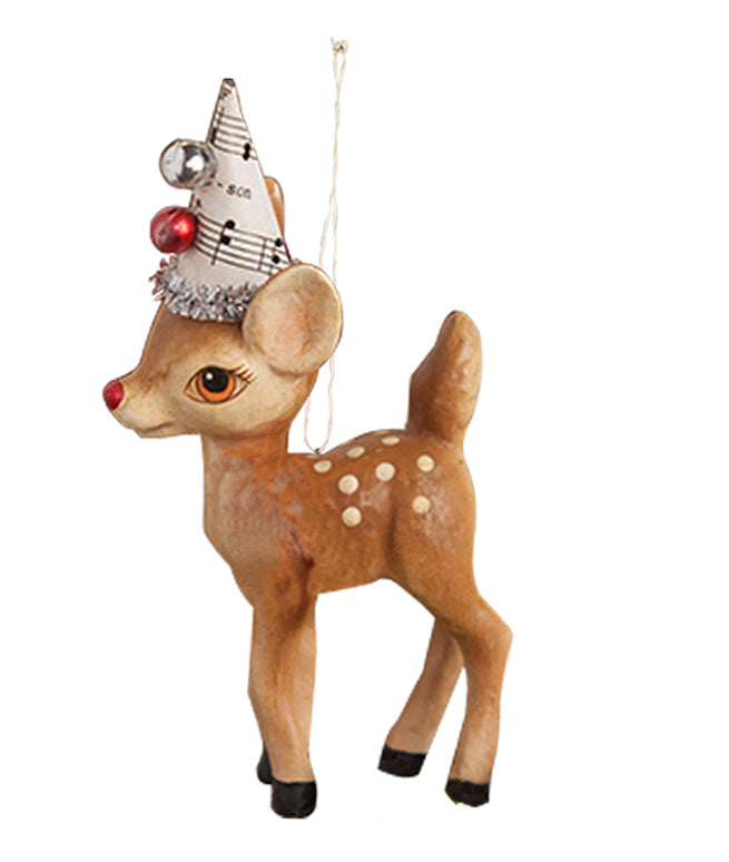 Retro Reindeer in Party Hat Ornament by Bethany Lowe