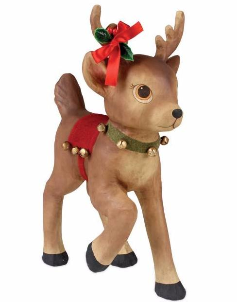 Retro Reindeer with Bells - Large Paper Mache Christmas Deer