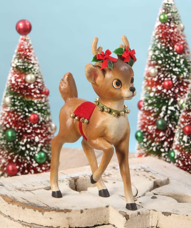 Retro Reindeer with Bells - Bethany Lowe Christmas Figurine