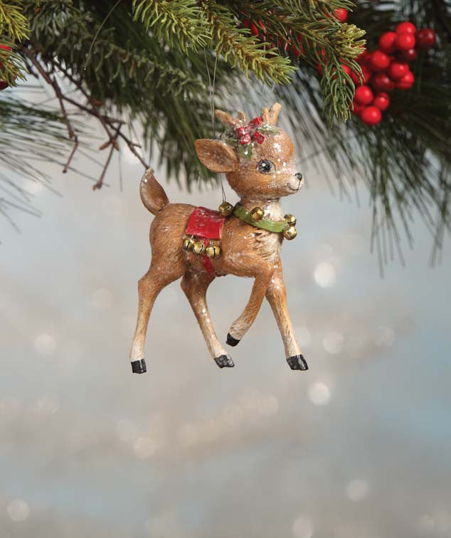 Bethany Lowe Christmas Ornaments.Retro Reindeer With Bells Ornament