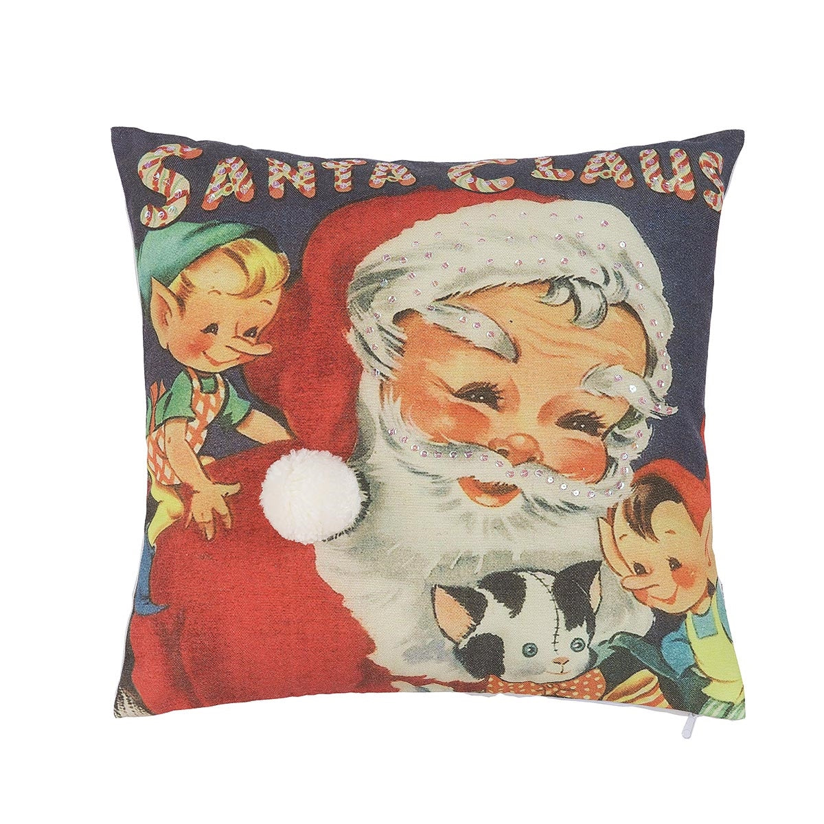 Santa's Workshop Pillow with Elves and Kitty Cat Doll