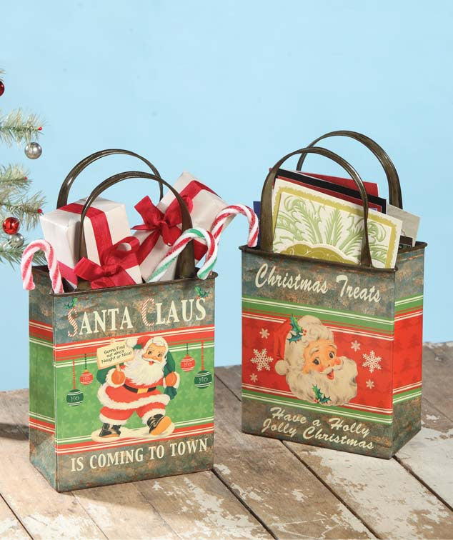 Retro Santa Rectangle Tin Buckets